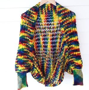 Vintage Rainbow Knitted Sweater Shrug  O/S